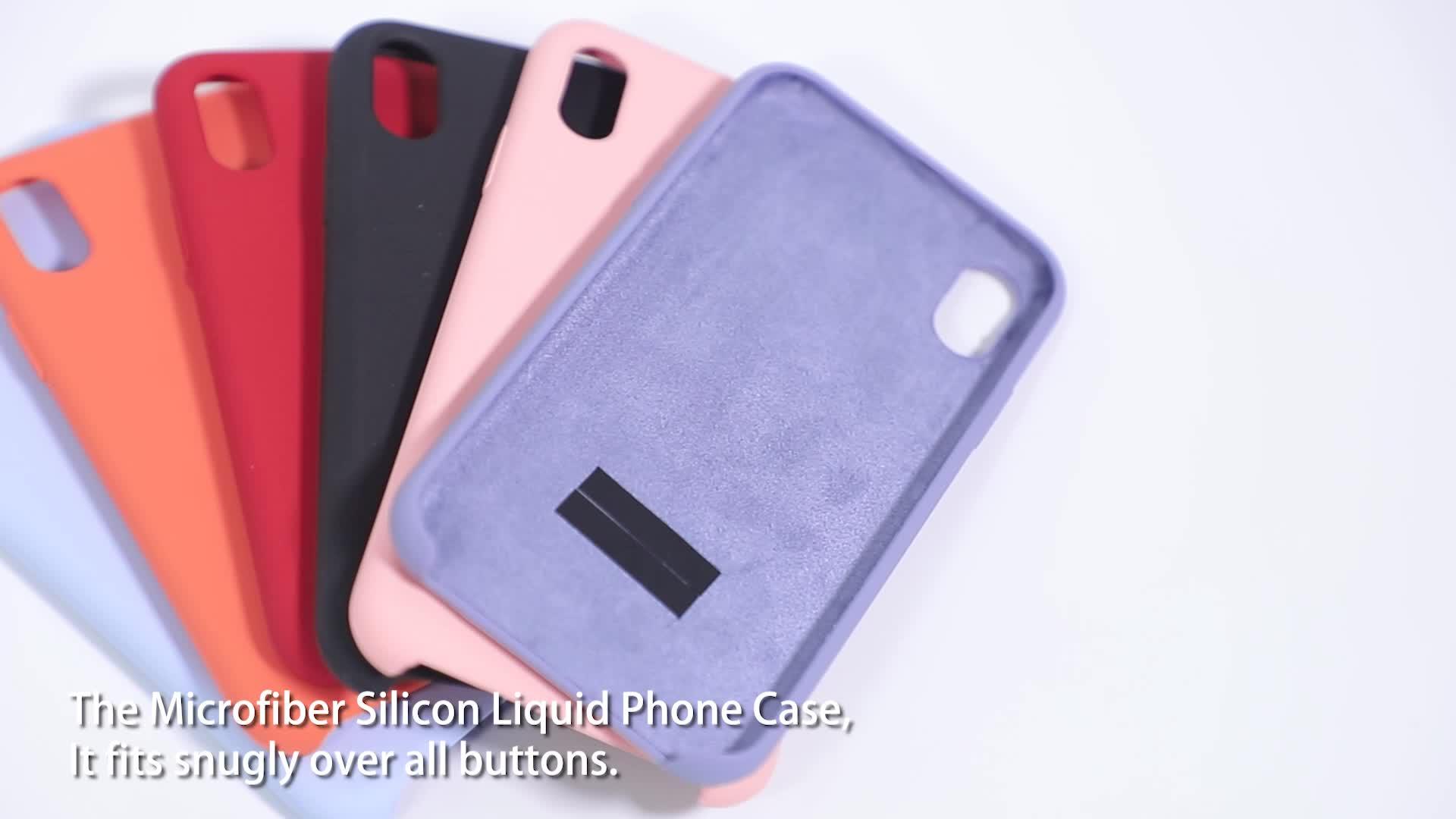 Microfiber liquid silicone case for Apple Iphone 7 8 X Plus Original Shockproof soft rubber case with logo