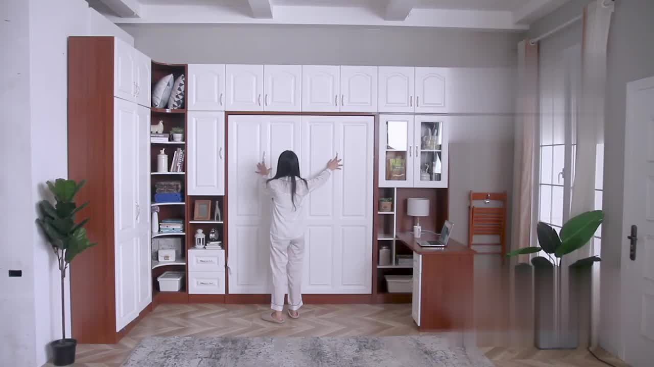 Space Saving Furniture Plywood Murphy Bed Spring Mechanism Vertical Folding Wall Bed With Cabinet