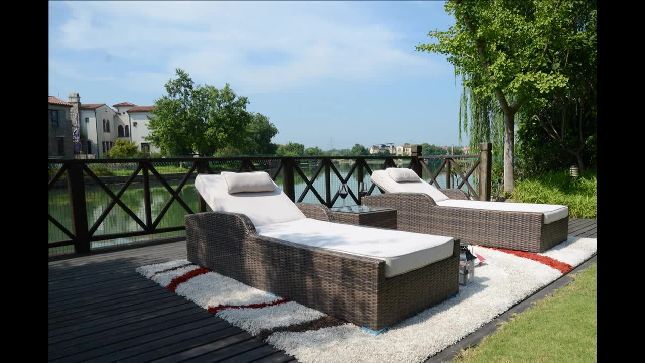 3PC Leisure Modern New Style Outdoor Sunbed Patio Wicker Daybed and Garden Rattan Furniture Lounger