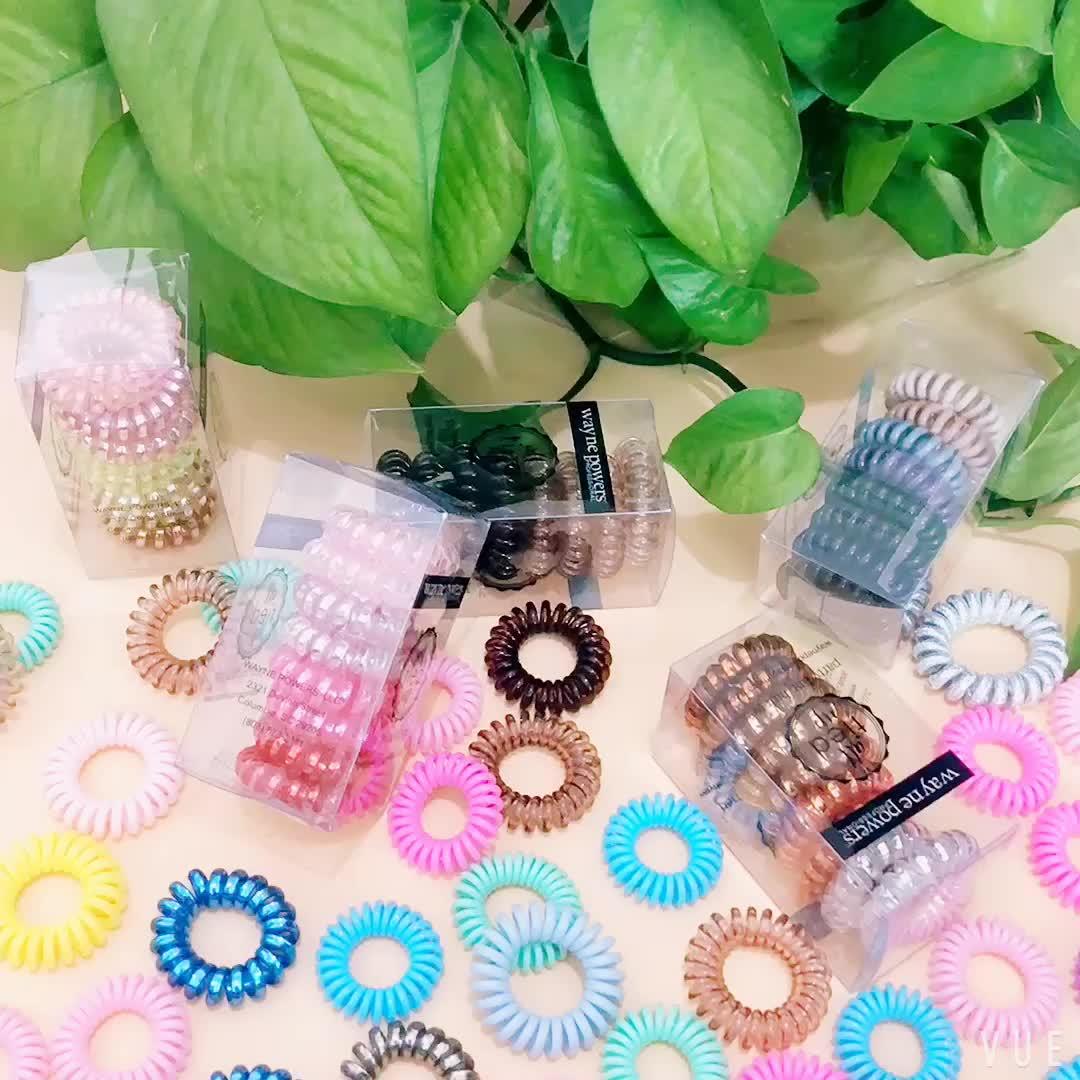 2019 थोक कस्टम फैशन कैंडी रंग लोचदार सिलिकॉन टेलीफोन कॉर्ड बाल टाई के लिए पार्टी लड़कियों