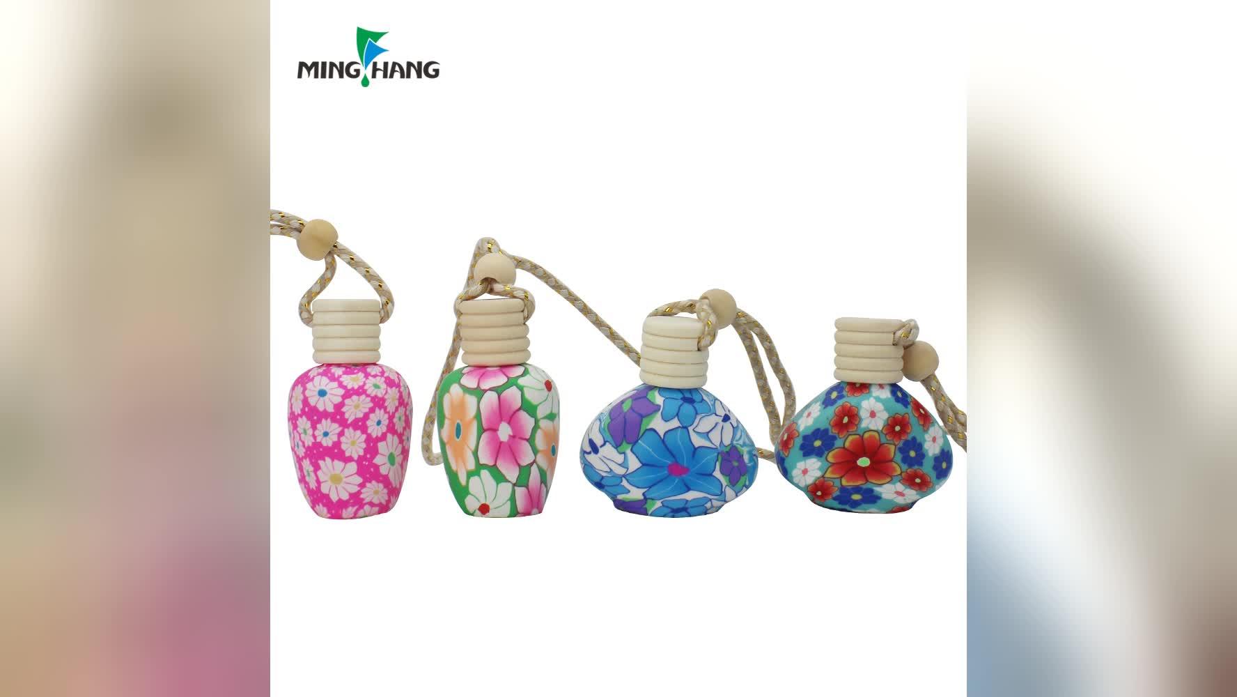 Auto Parfüm Glasflasche 10 ml Leere Hängen Parfüm Flasche für Ätherische Öle Diffusor mit Holz Kappen