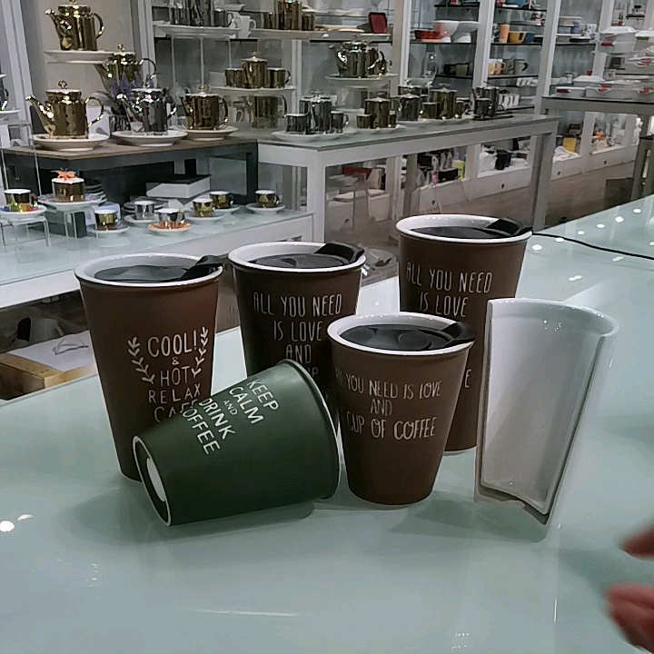 320cc new design reusable ceramic heat-resistant insulating thermal double heat preservation coffee cup mug with lid