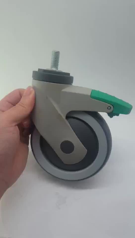"5 ""Gaya Amerika Ulir Batang Tahan Air Anti Karat Nylon Plastik Yoke Rem TPR Medis Peralatan Rumah Sakit Roda Kastor"