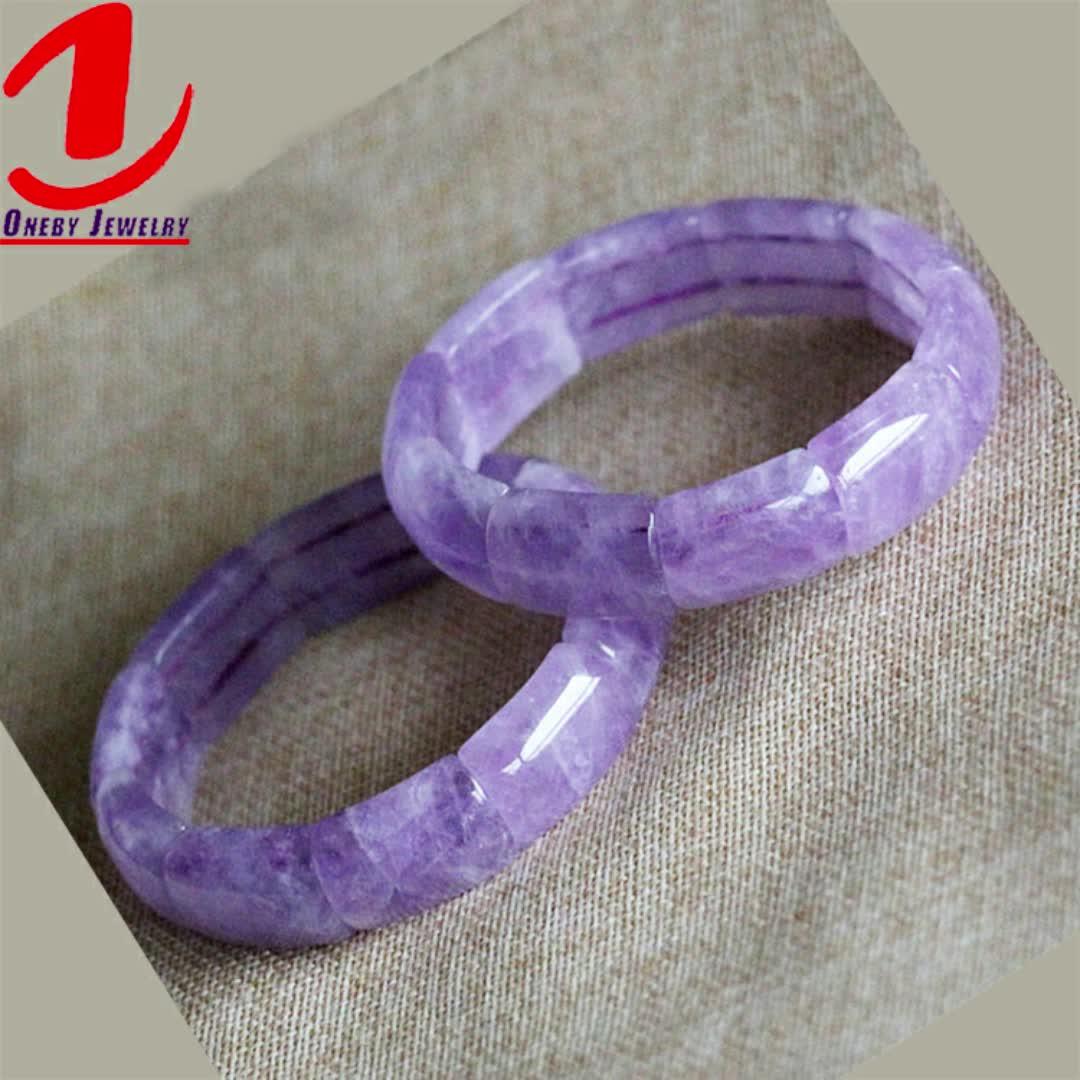 Bracelets de Tennis en améthyste violette perlée
