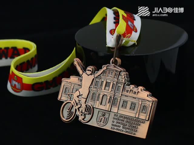 Customized antique copper medallion medallas sports custom bicycle medal