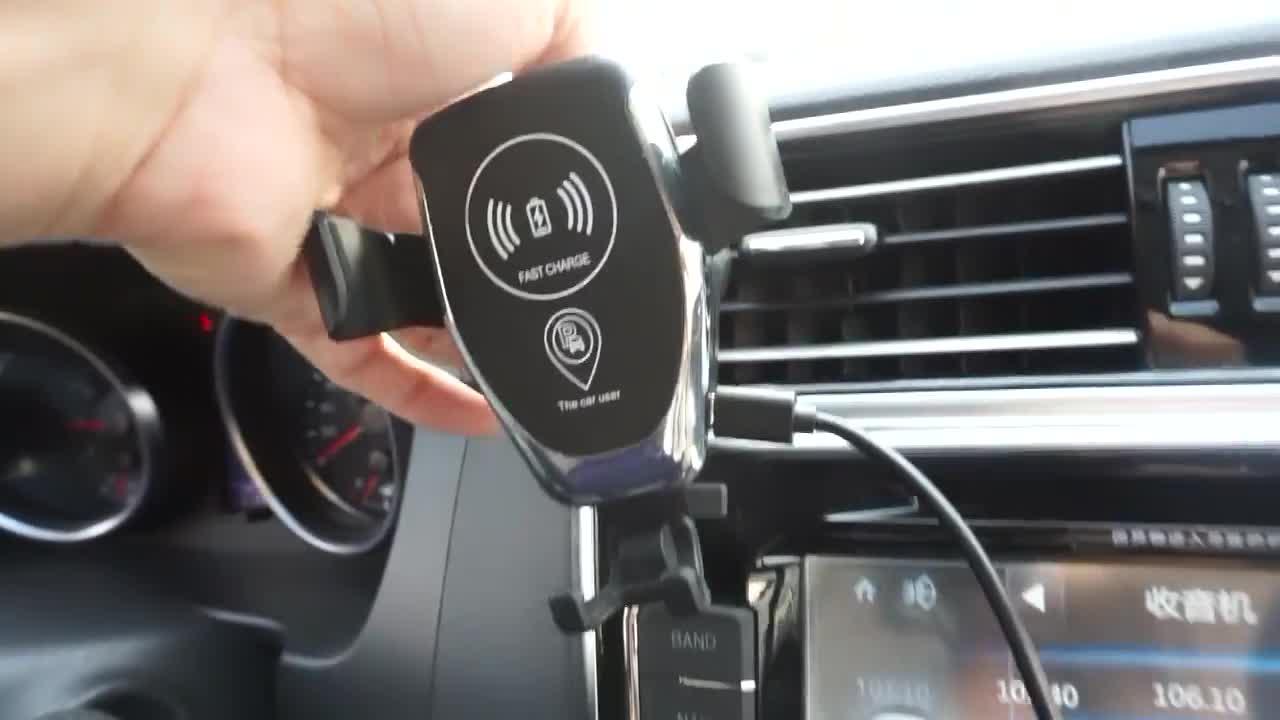 Auto Air Vent Halterung Handy Halter QI Schnelle Drahtlose Schnell Auto Ladegerät Automatische verriegelung durch Schwerkraft