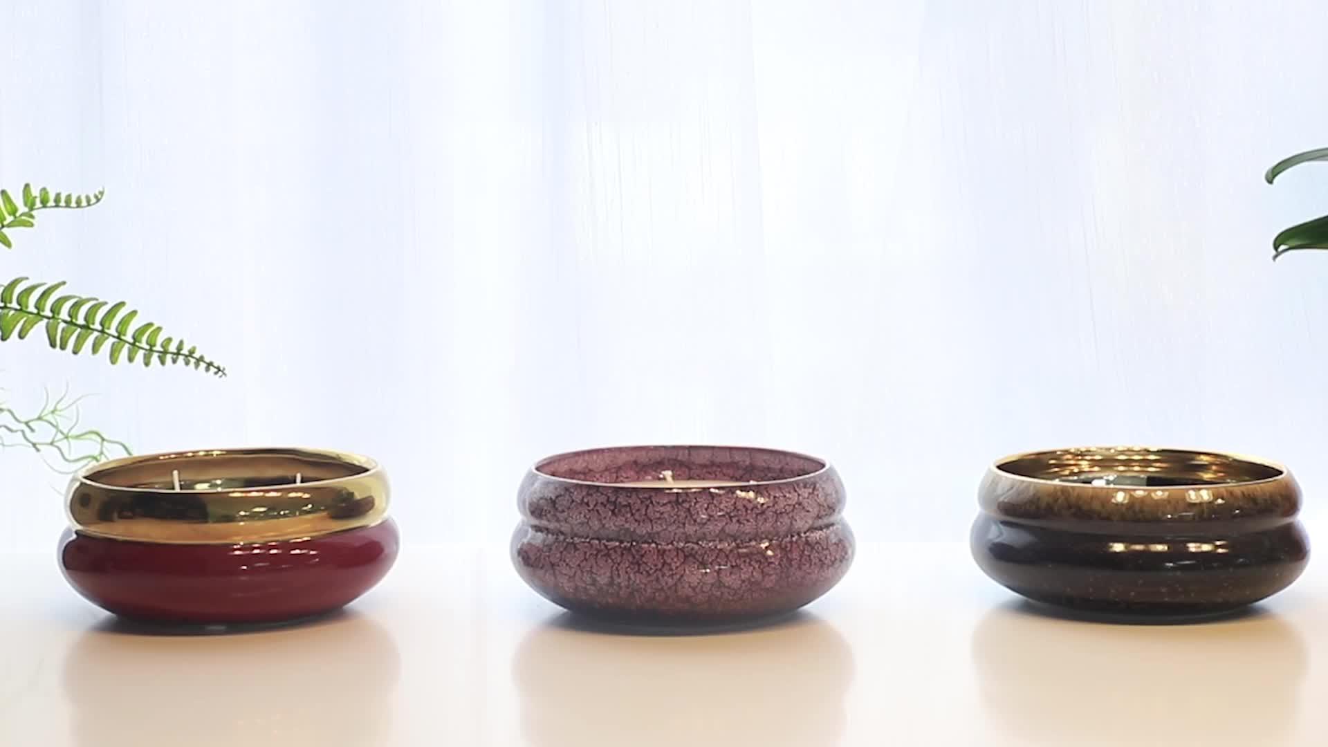 Sunny Glassware design 20oz luxury round curve  transmutation glaze ceramic candle holders