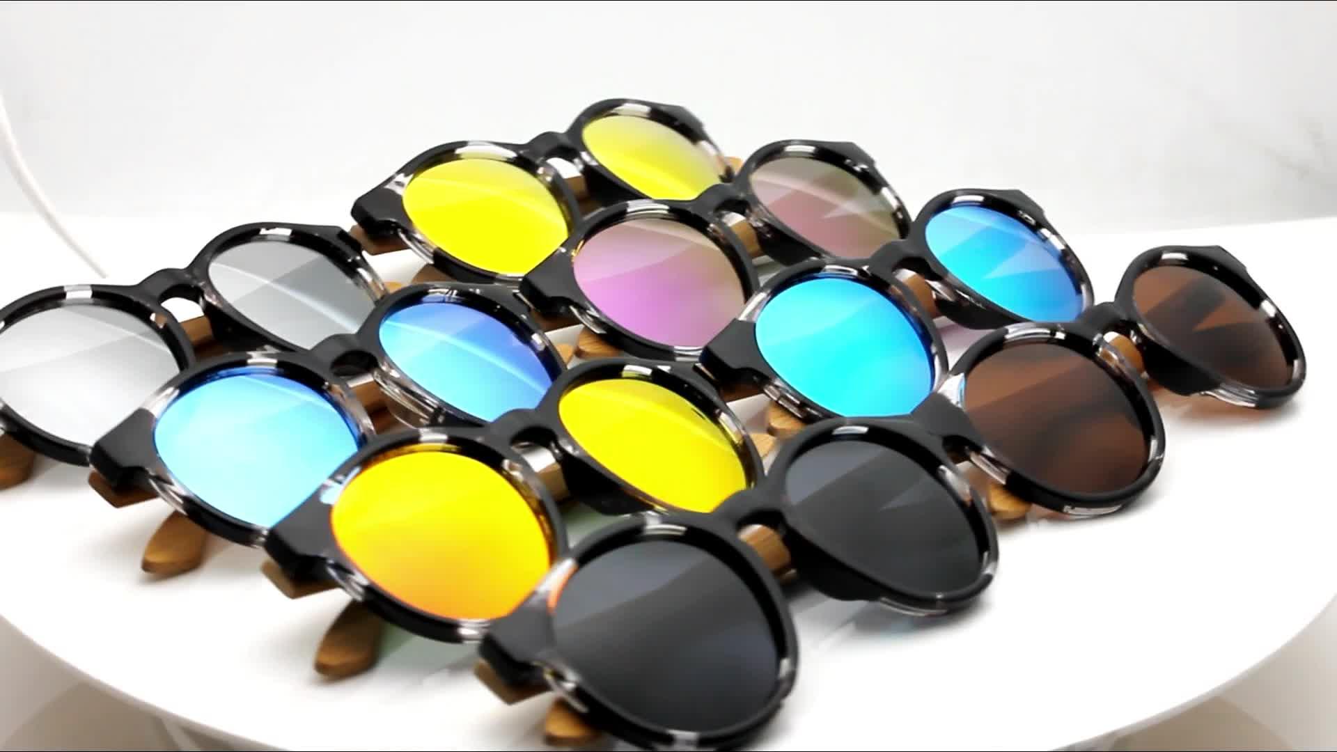 Promotional Price Sunglasses Bamboo Wood Custom Brand Fashion Polarized Wooden Sunglasses Men