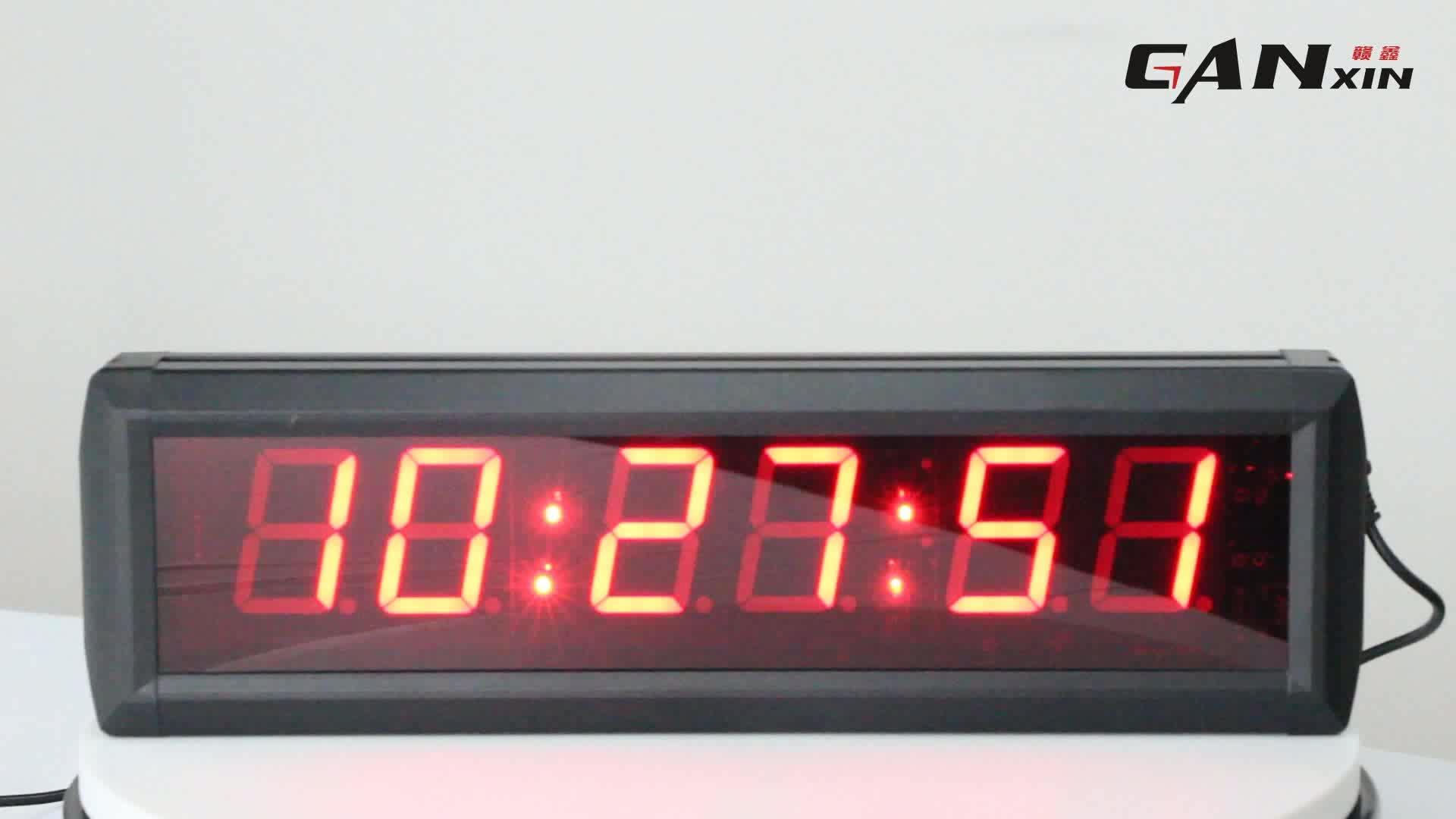 Small led screen number display master slave clock with digital calendar indoor for exercise timing