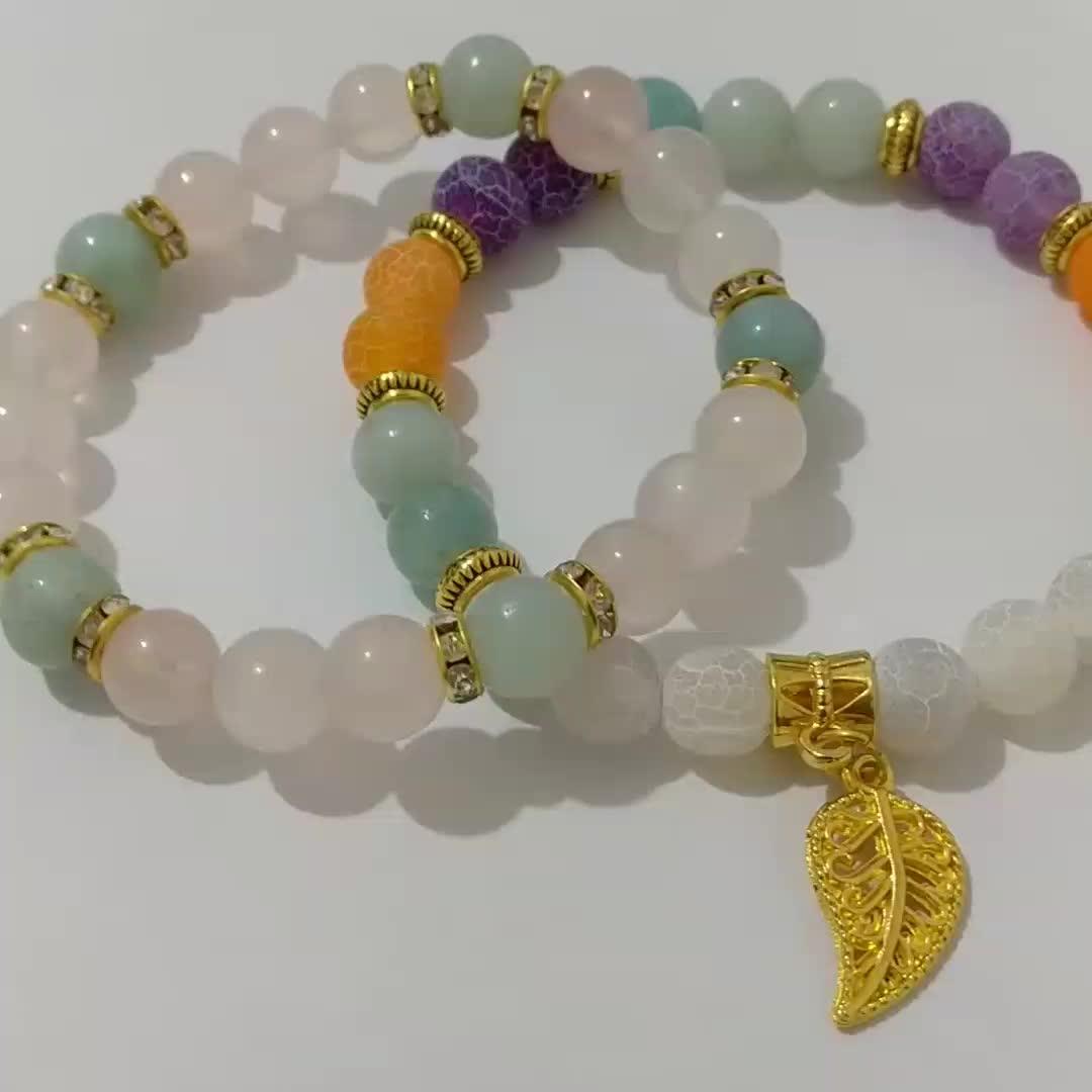 2019 New Design Gemstone Bracelet Set Weathering Agate Rose Quartz Amazonite Bead Charm Gold Leaf Spacer Beads Elastic Bracelet
