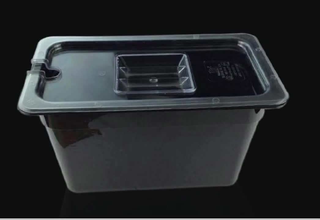 Trasparente e di colore nero di plastica in policarbonato gastronorm contenitore GN pan