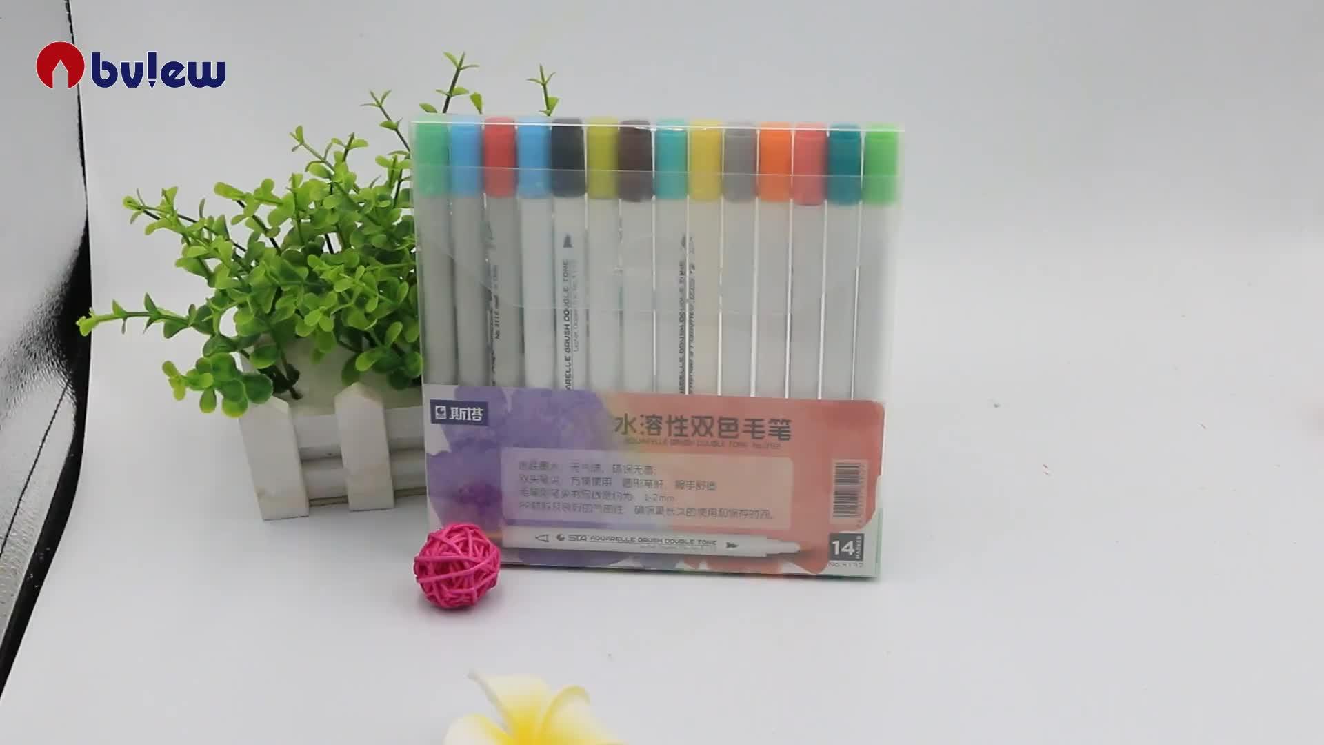 Nuovo Prodotto A Doppia Punta Colorazione Acquerello Pittura della Penna Della Spazzola Per La Colorazione