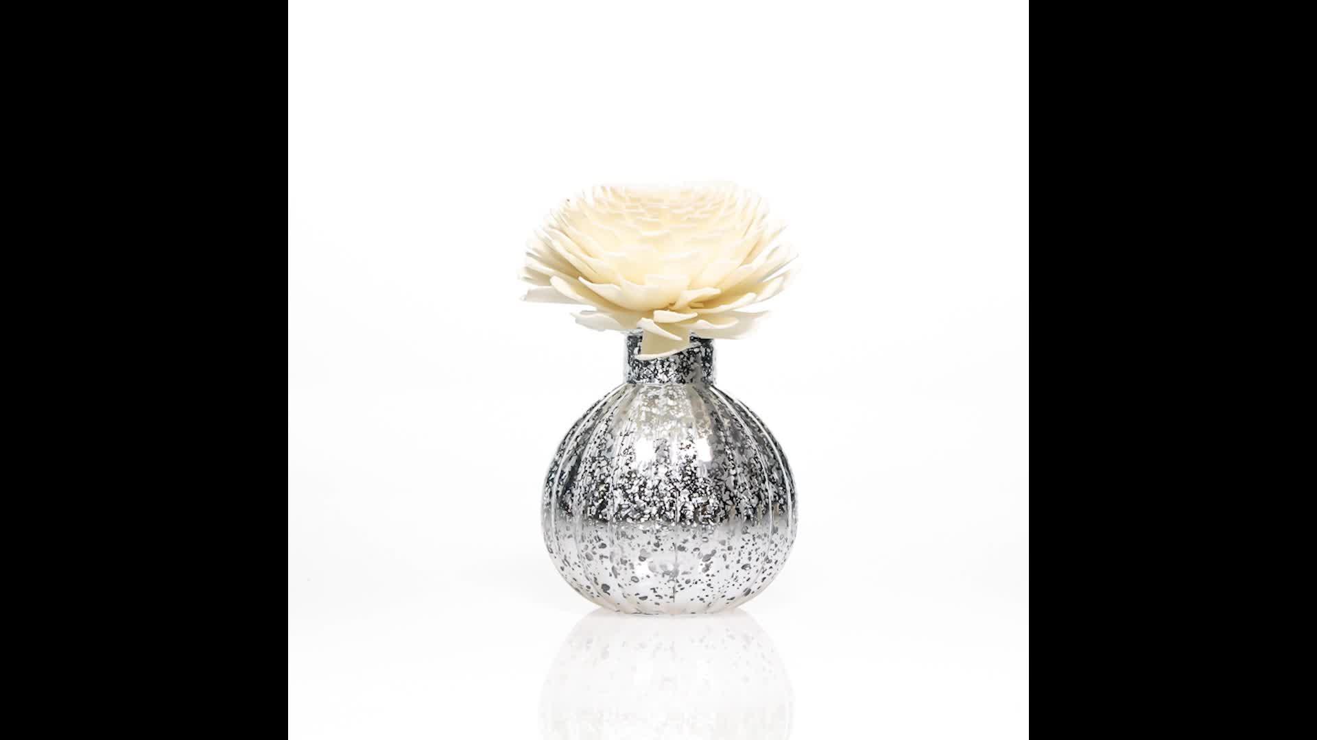 Rodada de Prata 120 ml Spray de Cor Casa Fragrância Difusor de Lingüeta do Frasco de Perfume de Vidro Garrafas com Cortiça