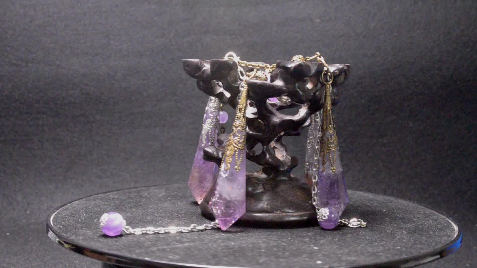 Metafísica e Divinative Pêndulo Chakra Pingente Esculpido De Cristal De Quartzo Ametrine Naturais
