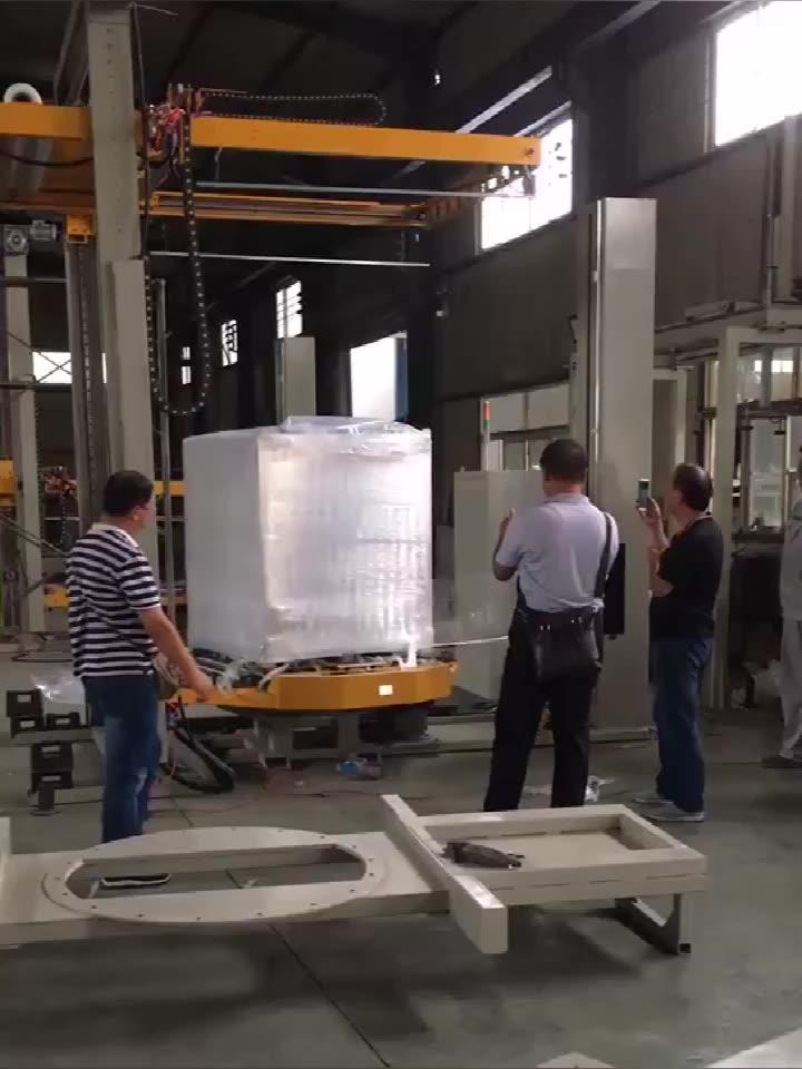 Otomatik havaalanı bagaj ön streç palet sarıcı dikey Film küçültme sarma makinesi