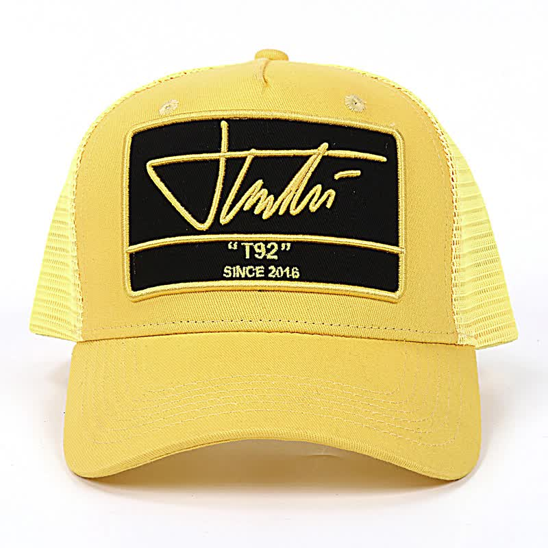 5% OFF 6 painel camionista da malha patch bordados personalizados chapéu de malha tampão do camionista com snapback