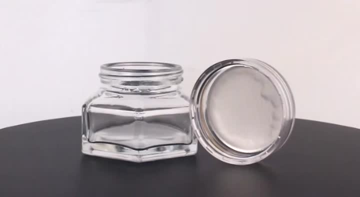 Wide Mouth 50g transparent white caps glass cosmetic jar with child proof safety plastic cap