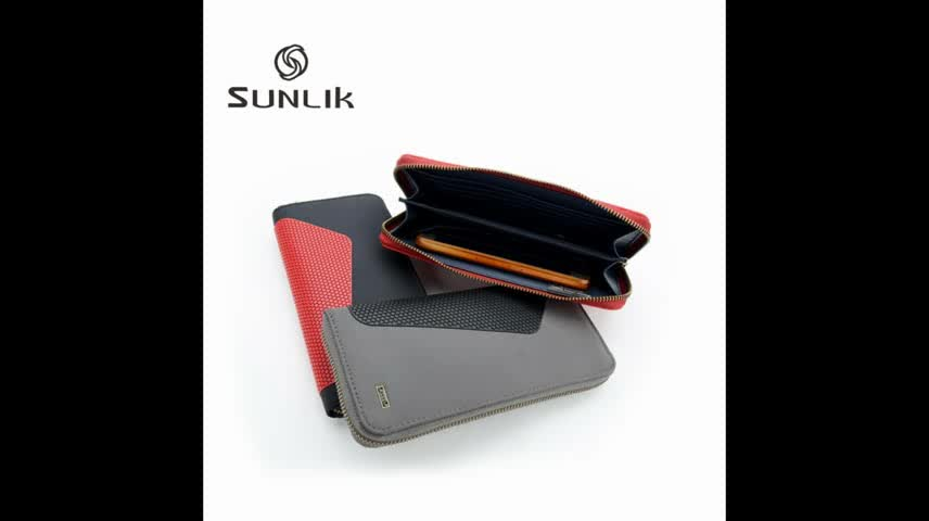 Wholesale PU Dots And Nylon Men Wireless Charging Wallet For Cell Phone