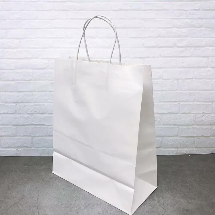 Recycled Custom Logo Printed Shopping Packaging Craft   Kraft Paper Bag With Handles