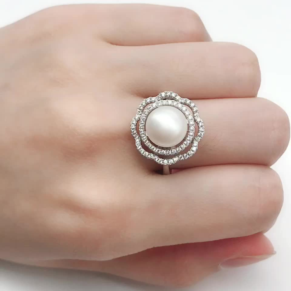 High quality custom 925 sliver rotary jewelry pearl ring mounting
