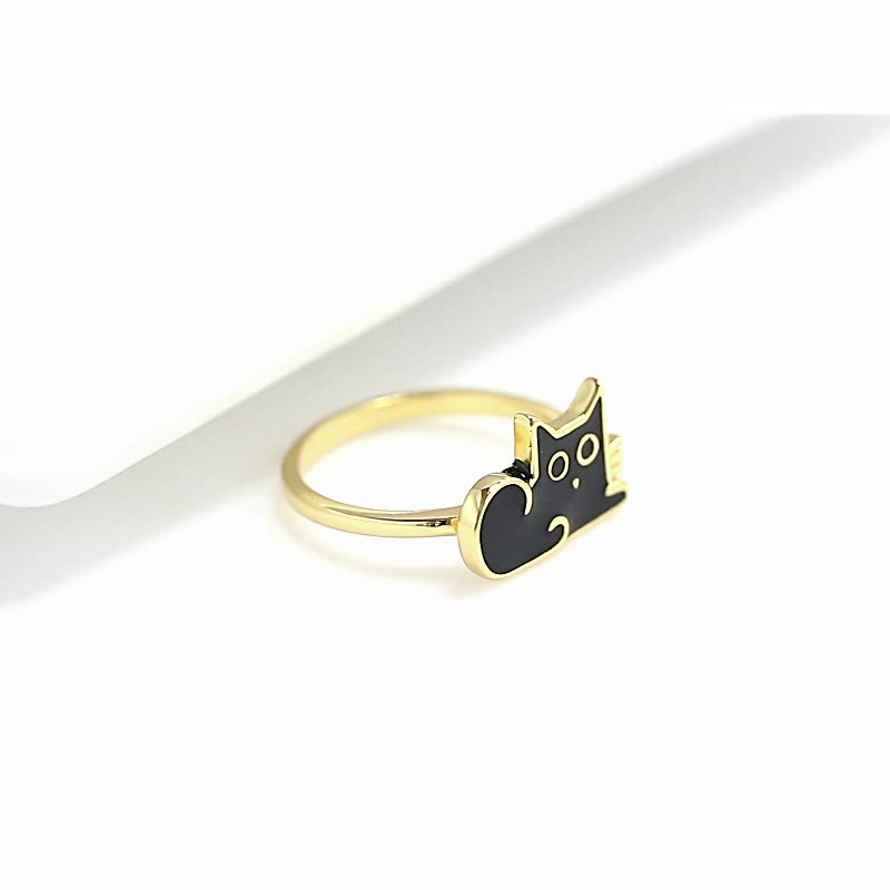 RINNTIN EQR06 Trending Products 2020 New Arrivals Cat Rings Sterling Silver Gold plated Ring