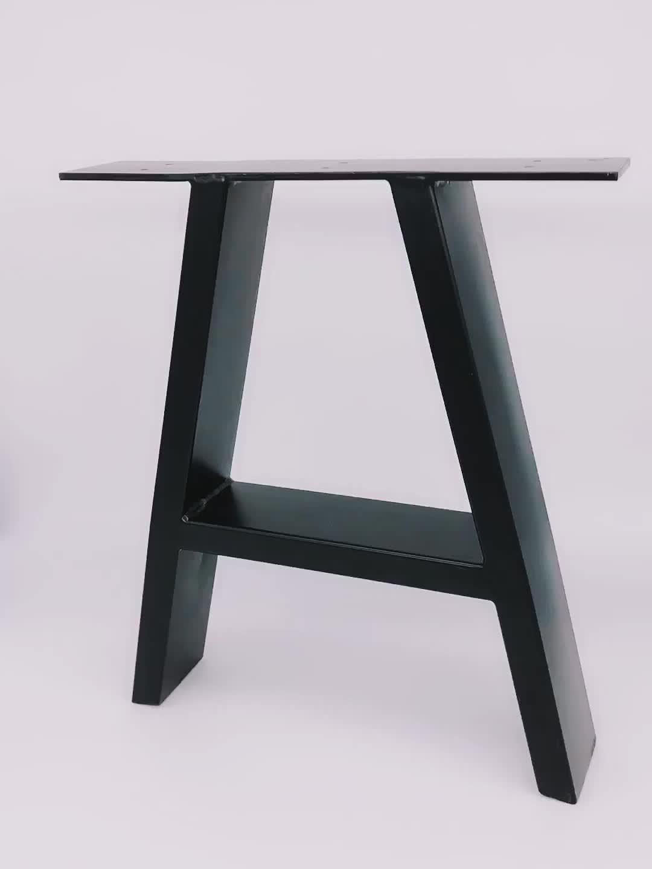สีดำ Wrought อุตสาหกรรมโมเดิร์นกรอบแปรงผงเคลือบ X รูปโต๊ะโลหะเหล็กหล่อ Bench ข้าวขา
