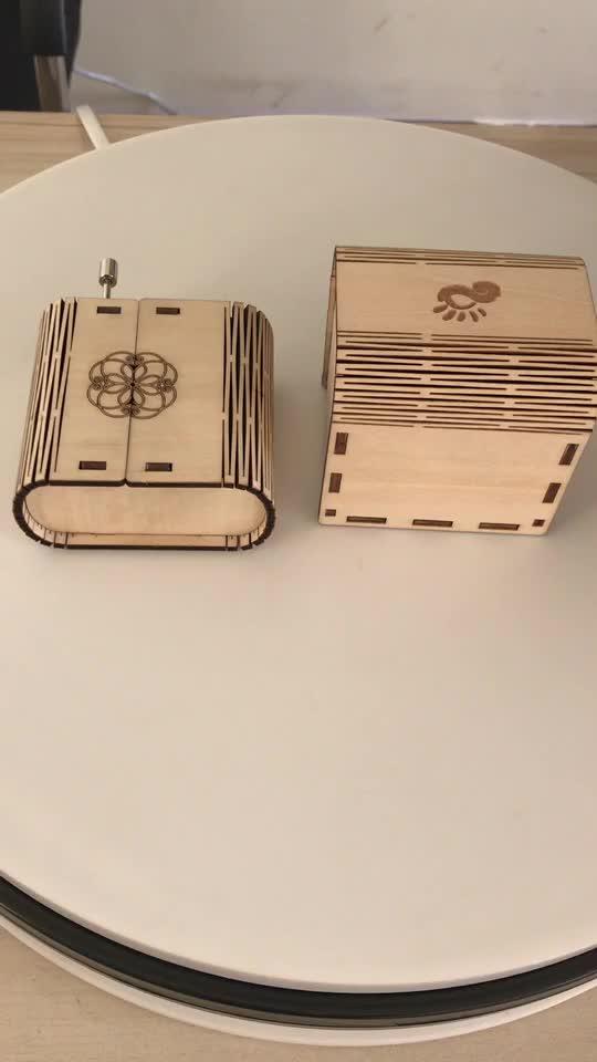 china suppliers liaocheng laser cut wooden hand crank music box