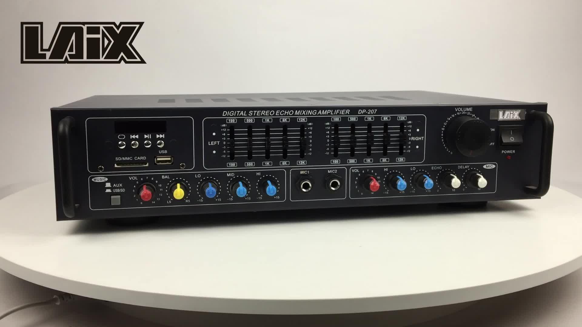Laix DP-207 Lineer Oransal Entegre Stereo Karıştırma Ktv Çin AV Güç EQ Amplifikatör