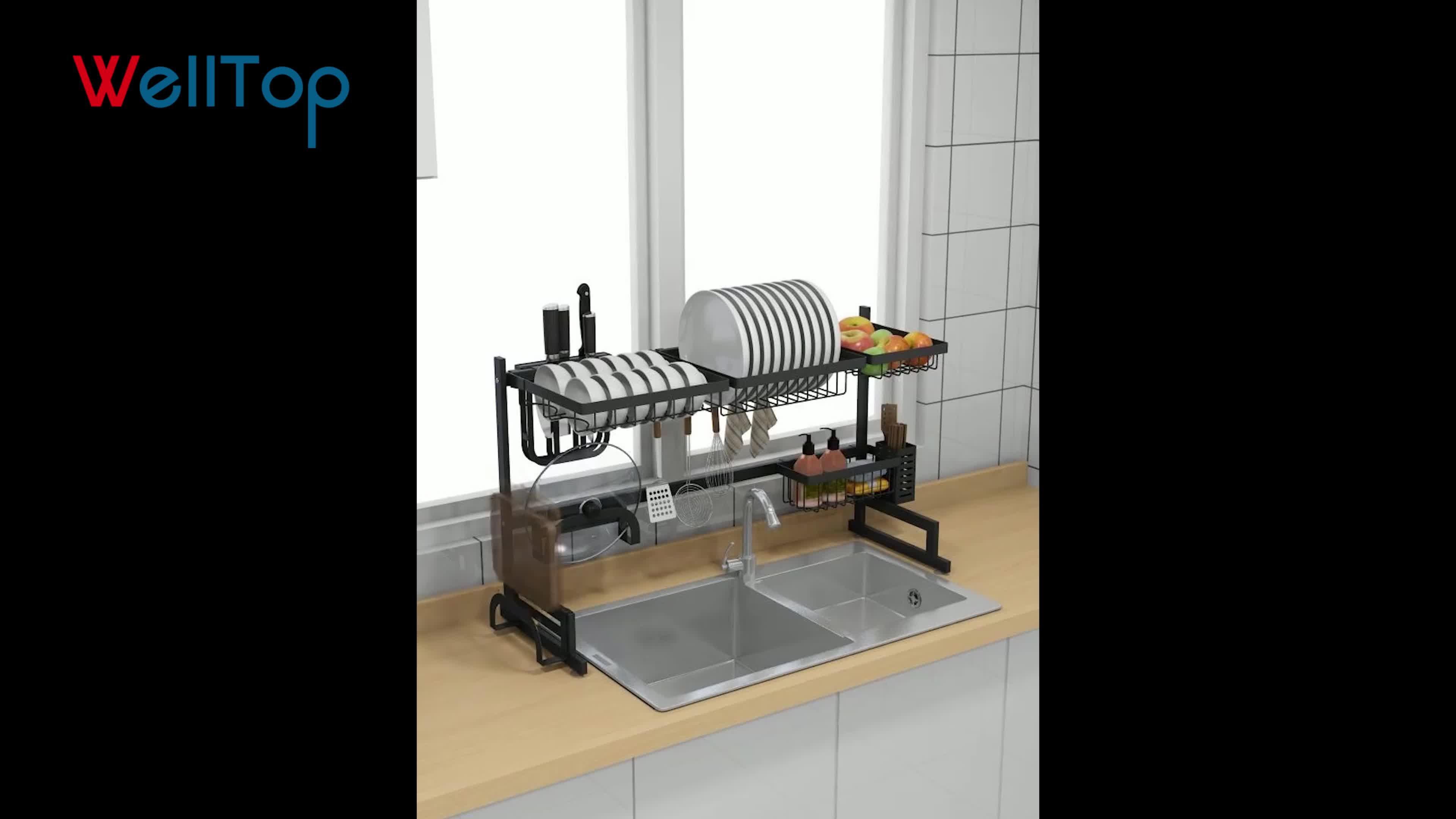 多機能金属ステンレス鋼キッチンボウルプレート皿収納ラック VT-09.009