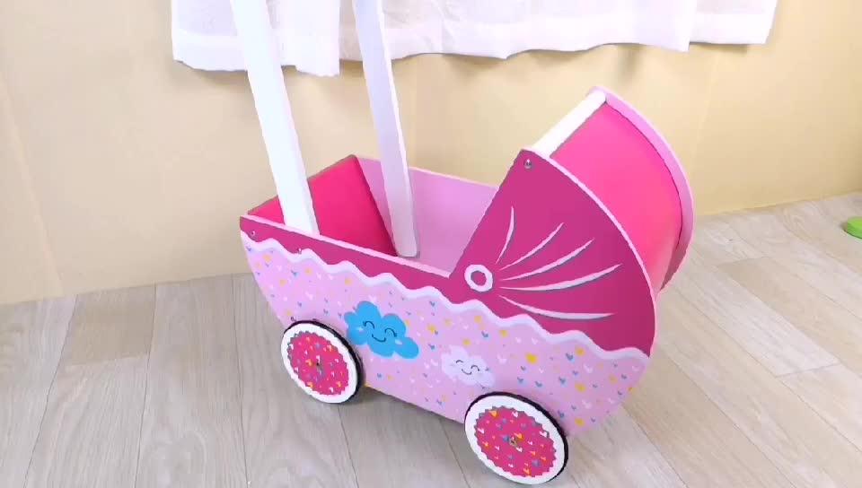 Vendita calda giocattolo di legno mobili per bambini passeggino carrozzina della bambola per le bambine