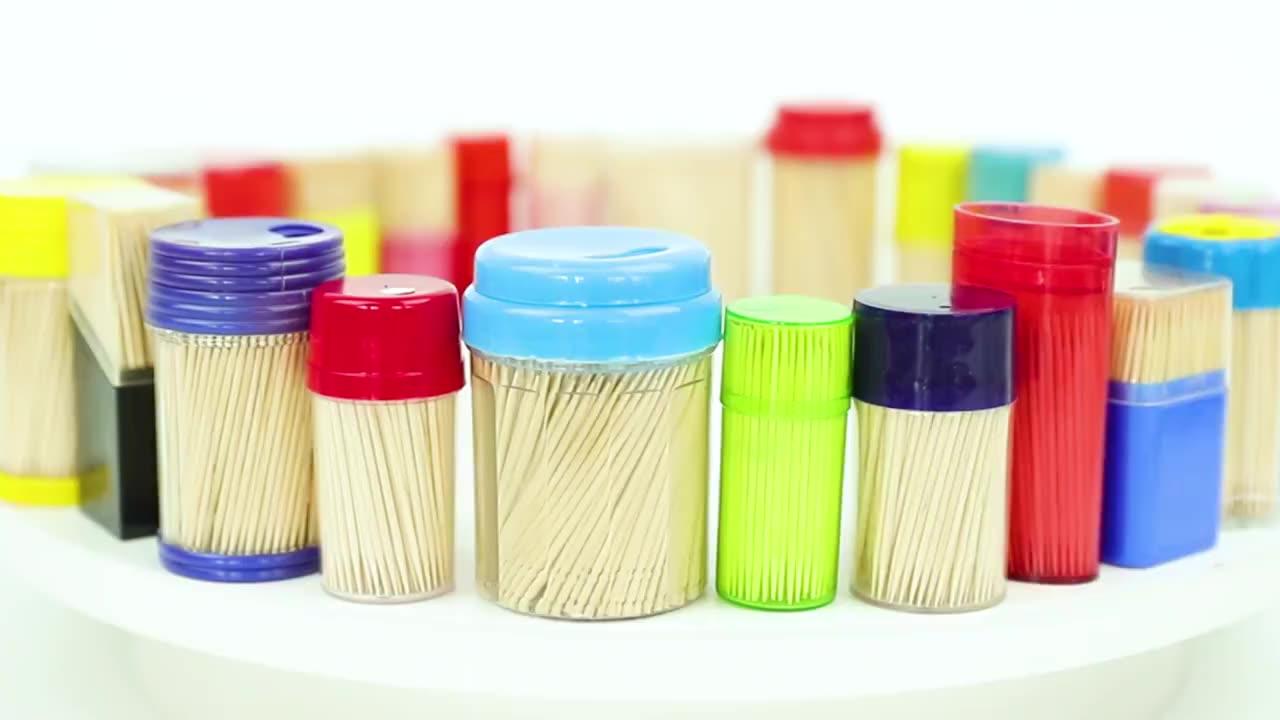 Zahn pick personalisierte alle natürlichen bambus holz runde zahnstocher