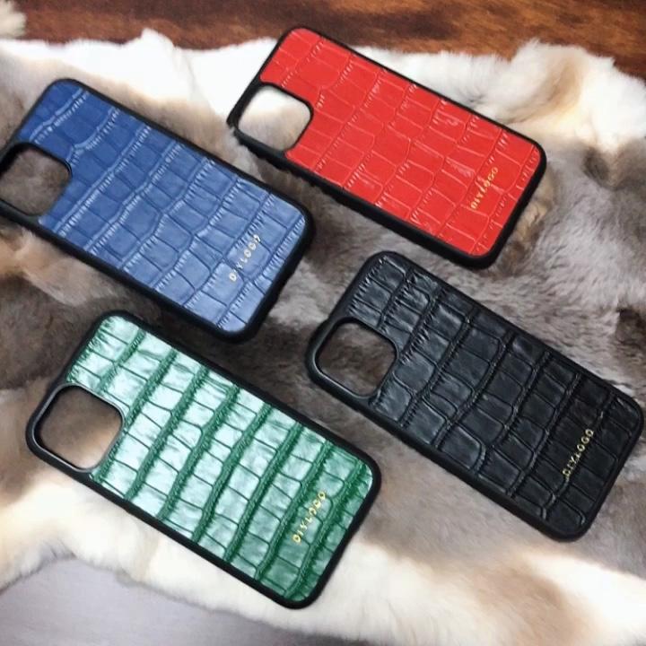 In rilievo Custodia In Pelle di Coccodrillo per il iPhone 11 pro Caso Del Coccodrillo