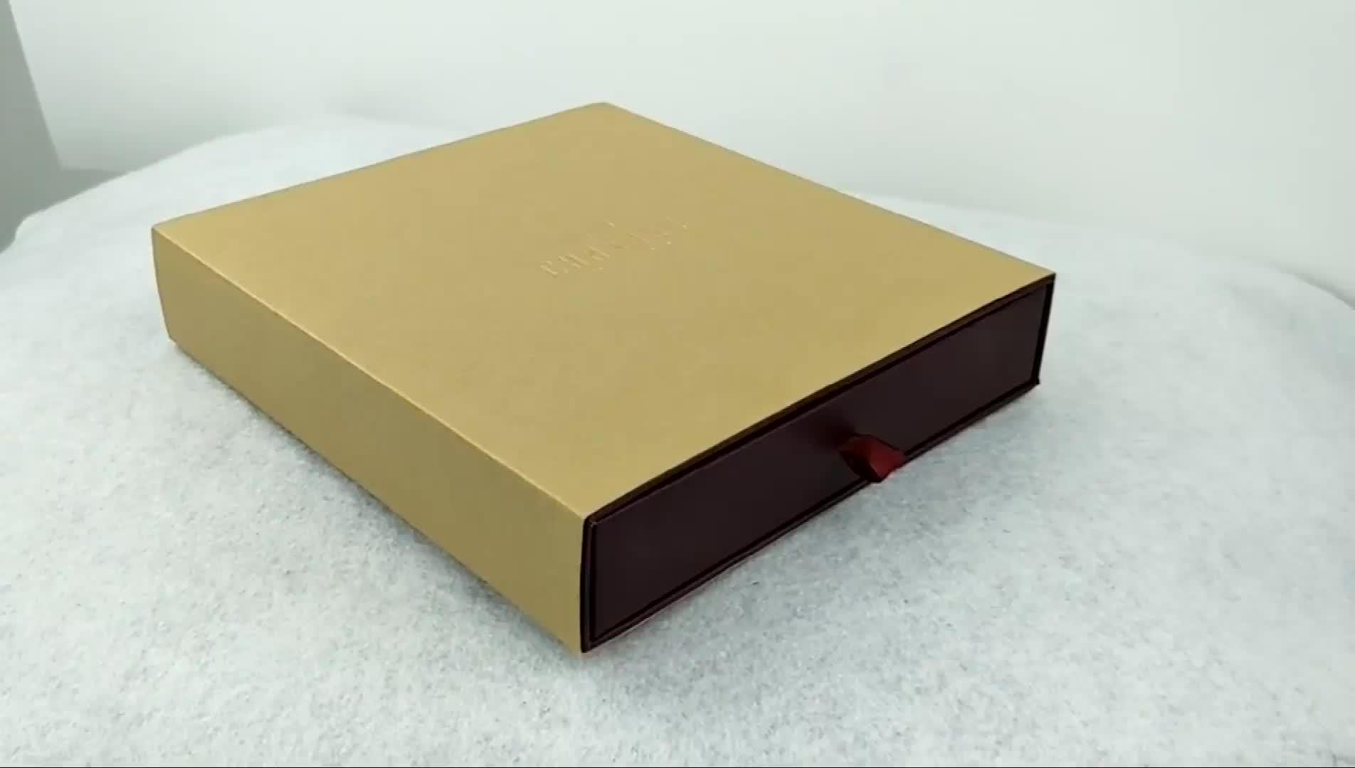 Elegant wine red cardboard necklace jewelry box drawer