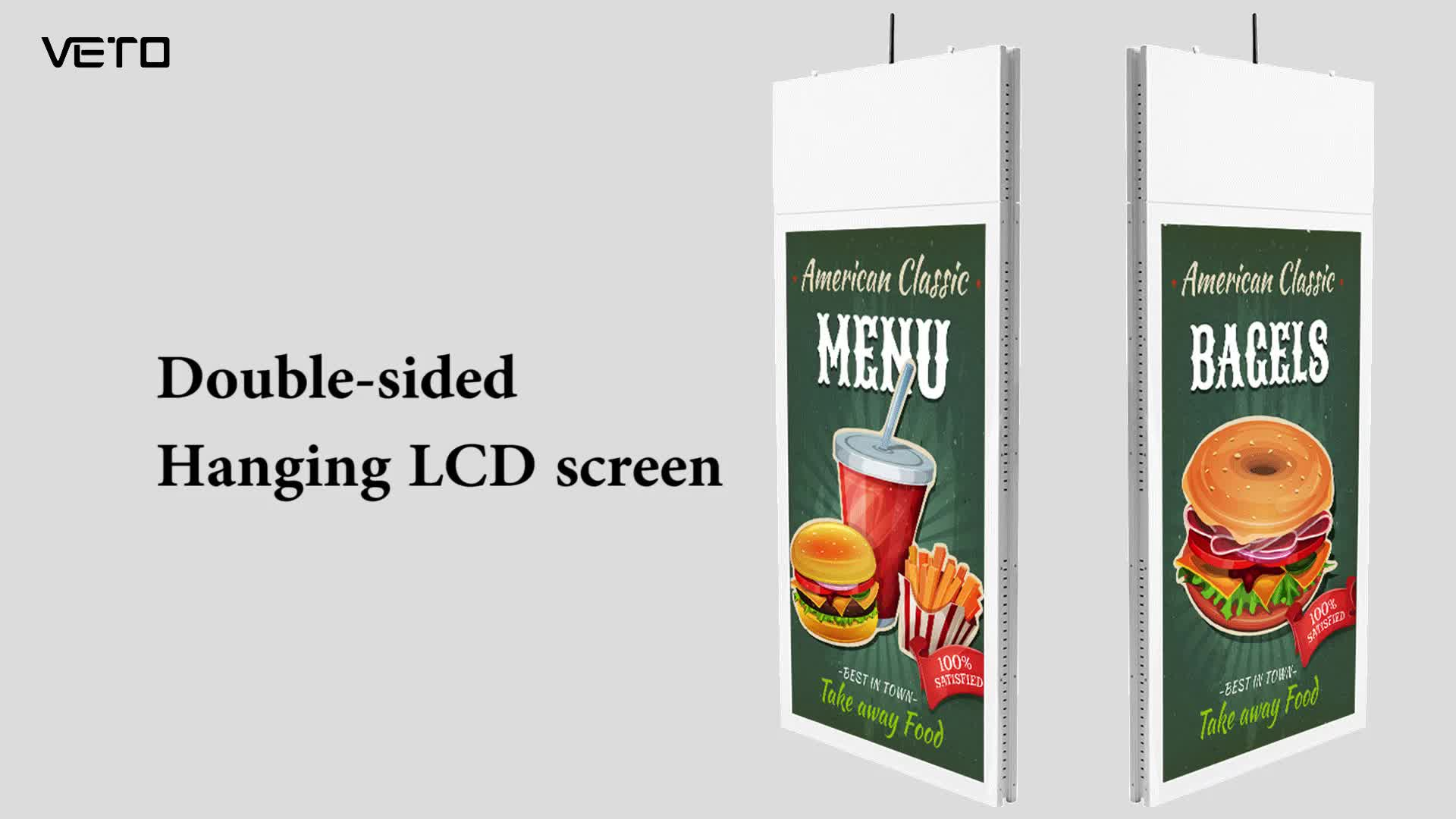 55 inch Ultra thin ceiling mounted dual sided LCD advertising player