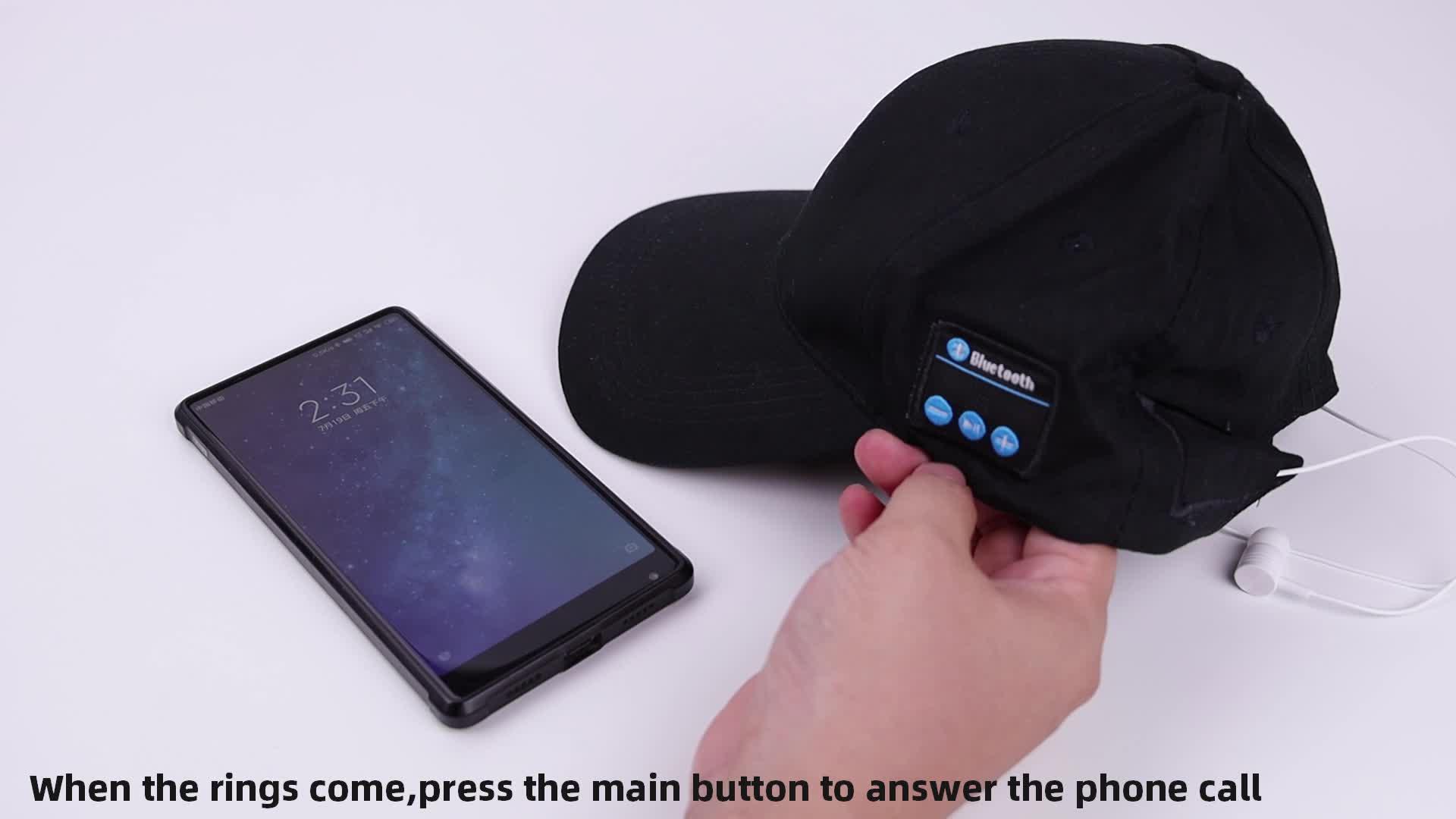 प्रोमोशनल काले 100% कपास स्मार्ट बेसबॉल सूरज टोपी ईरफ़ोन ईरफ़ोन में बनाया