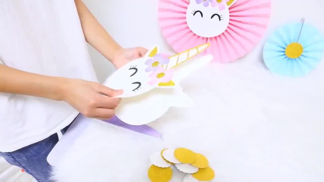 Meilun Lazada Amazon venda quente ventilador de papel fontes da festa de decoração unicórnio