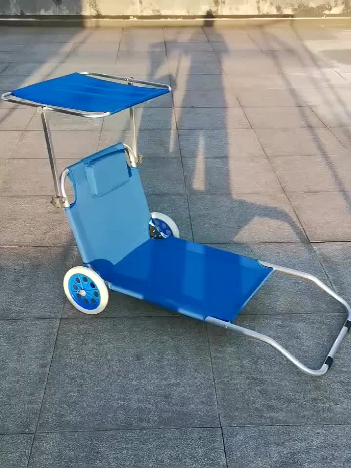 Foldable Sunbed Sun Lounger With Canopy And Wheels Outdoor
