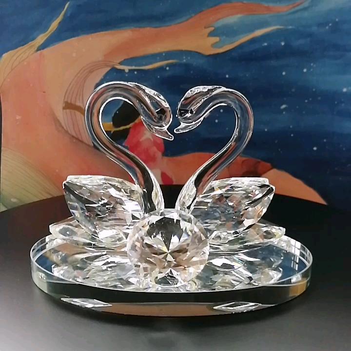 A Forma di cuore Cigno di Cristallo Figurine Per Favore di Cerimonia Nuziale di Cristallo Regalo di Ritorno