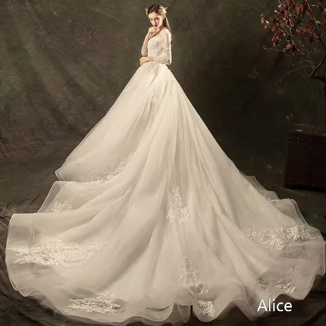 New fashion designer bridal dress patterns  large trailing tails and high waists slim classic beaty bridal wedding dress
