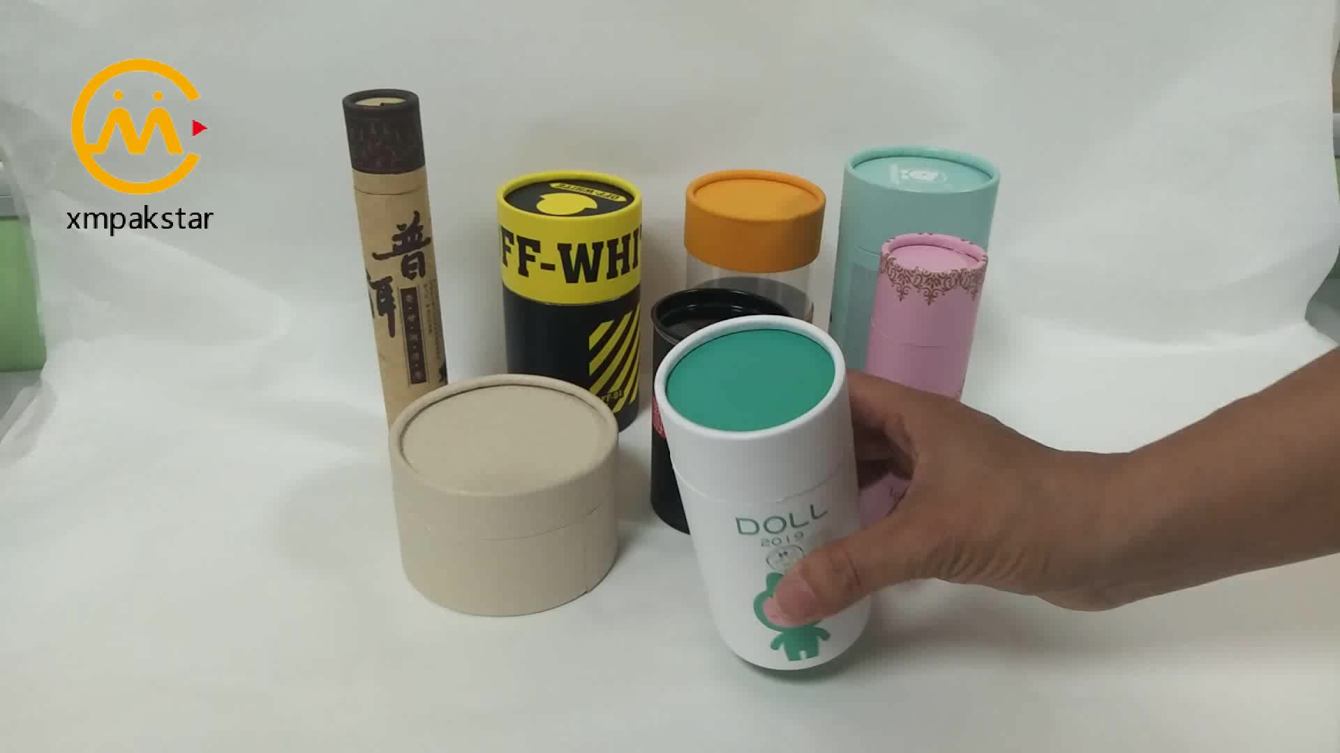 Custom round cardboard tube box paper canister for doll packaging