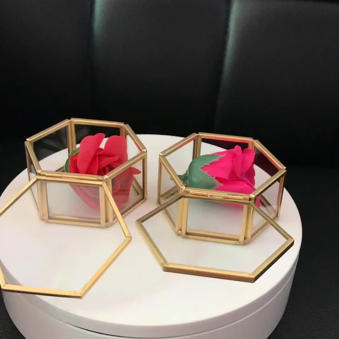 ALINA <> Caixa de Jóias Bugiganga de Vidro com Moldura de Bronze Em Forma de Hexágono-Geométrica Lembrança Caixa de Armazenamento _ visor de vidro caixas de gravata