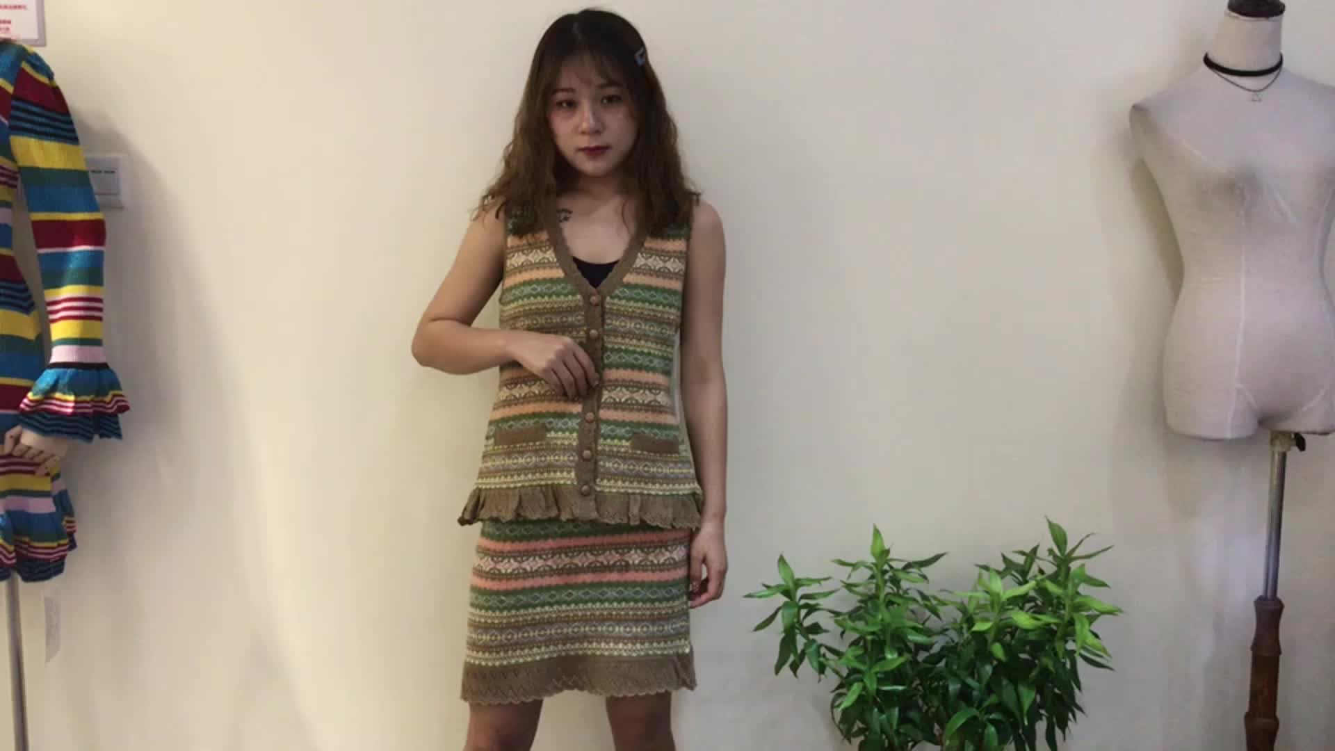 custom knitted colorful sleeveless v neck button design ruffle hem knitted 2 piece sweater sets women