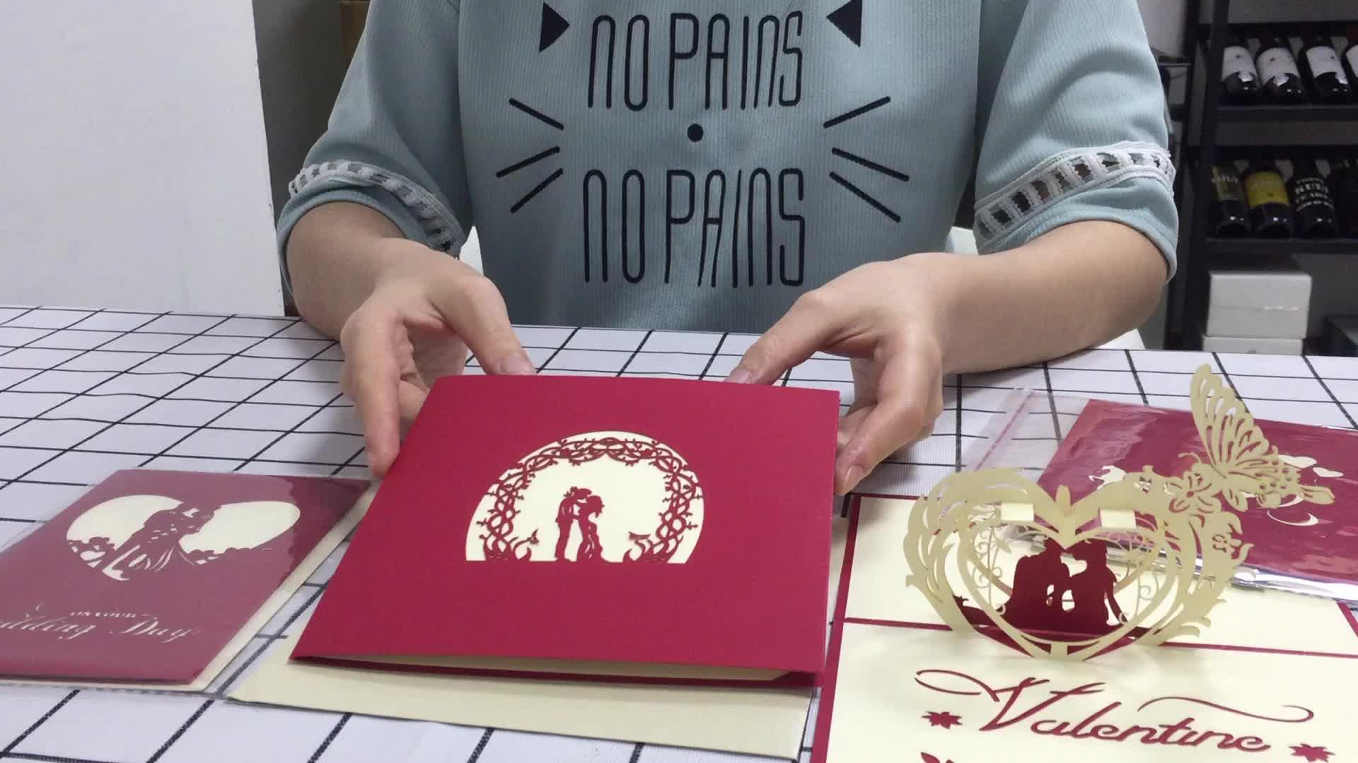 Proveedor Chino de 3D emergente Tarjeta de invitaciones de la boda tarjetas
