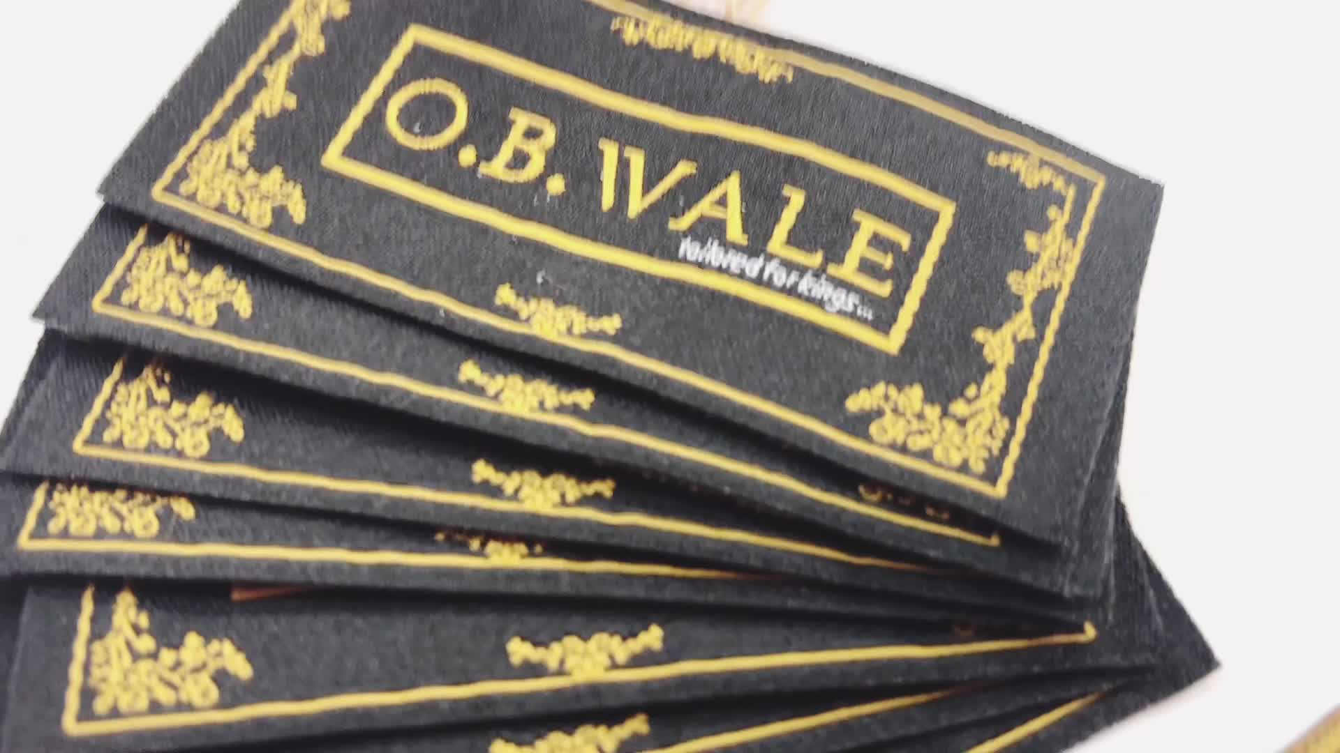 Clothing Brand Label Custom Wove Tags cut and end fold Printed label