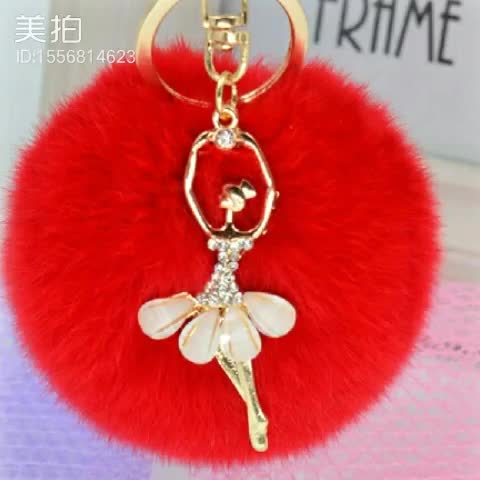 cute custom fur ball faux fur pom poms keyring