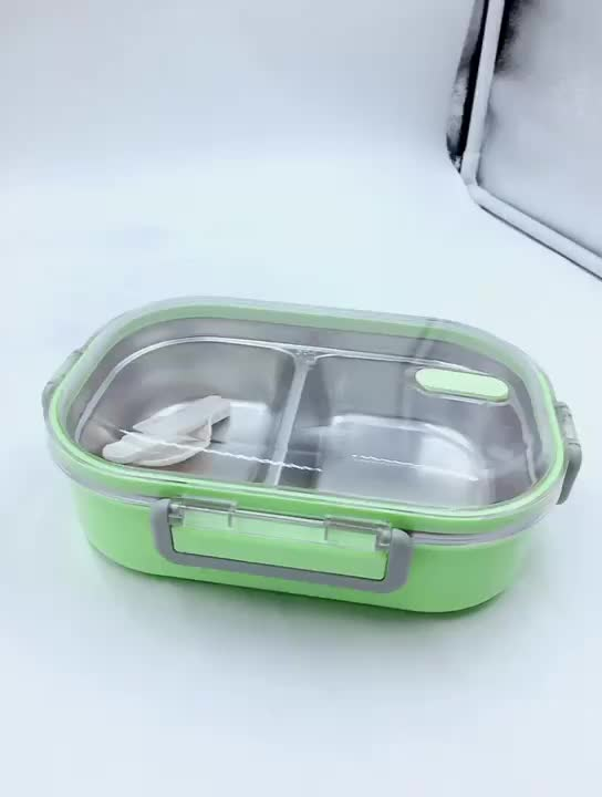 Food grade 304 Stainless Steel leakproof square tin box for kids Colorful plastic lunchbox