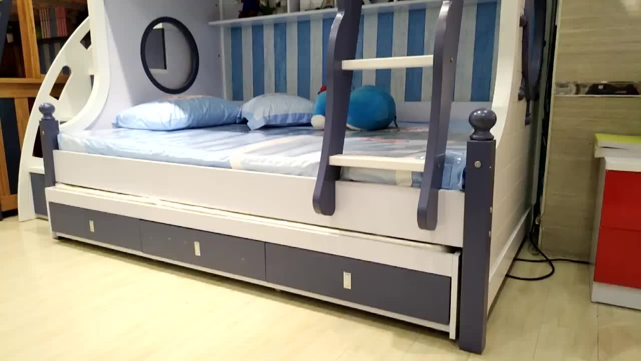 Home Furniture Bedroom Children Bed Wooden Material Full Size Double Bed For Kids