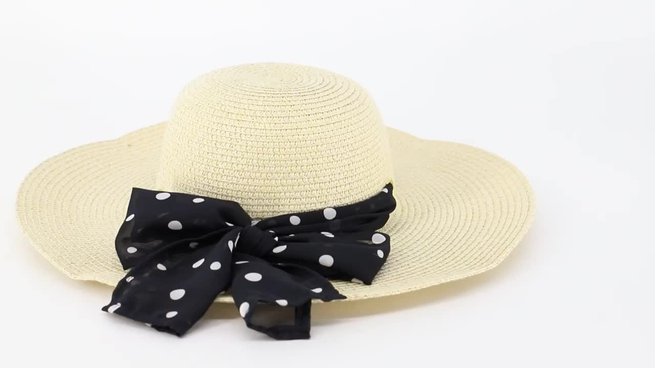 Floppy Wide Brim Sun Hat Ladies Beach Straw Fedora Summer Foldable Paper Straw Hat