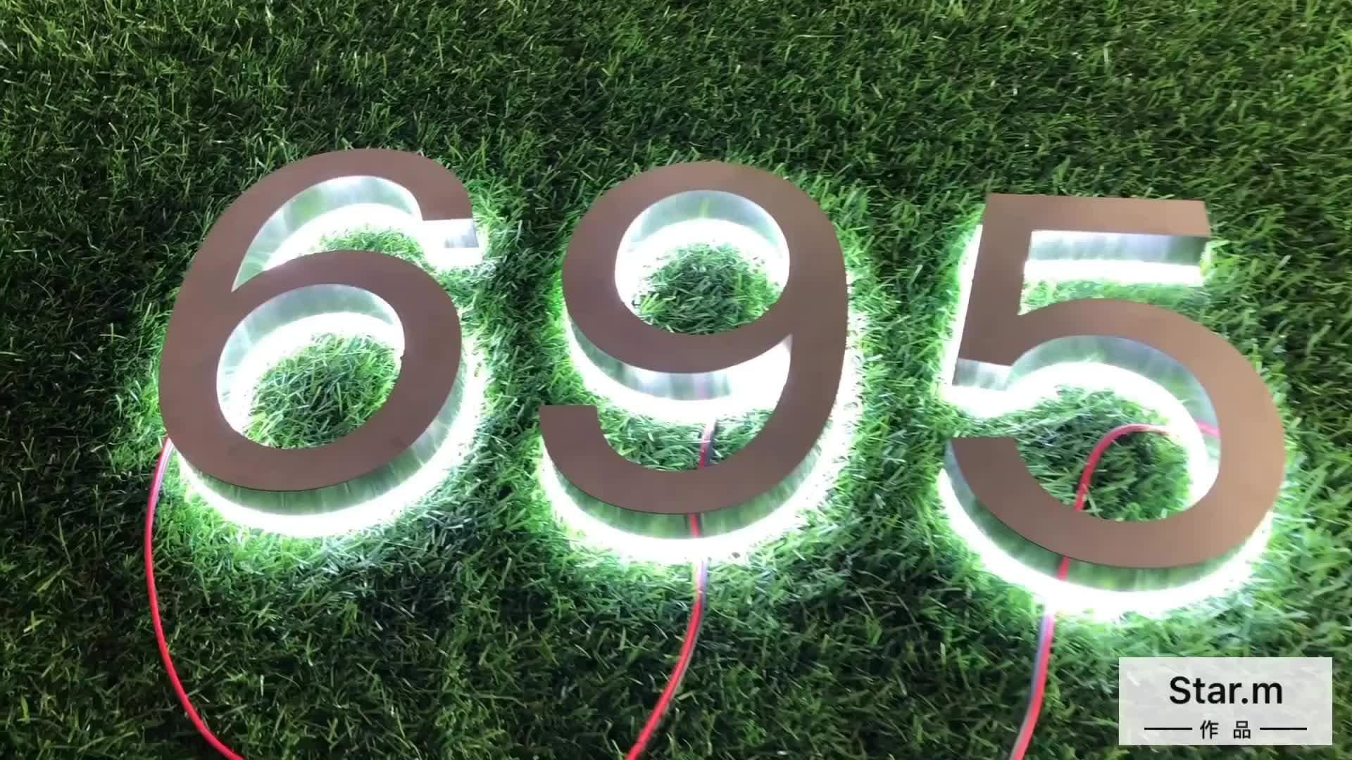 Fabricante Personalizado Chrome Aço Inoxidável Sinal Backlit 3D