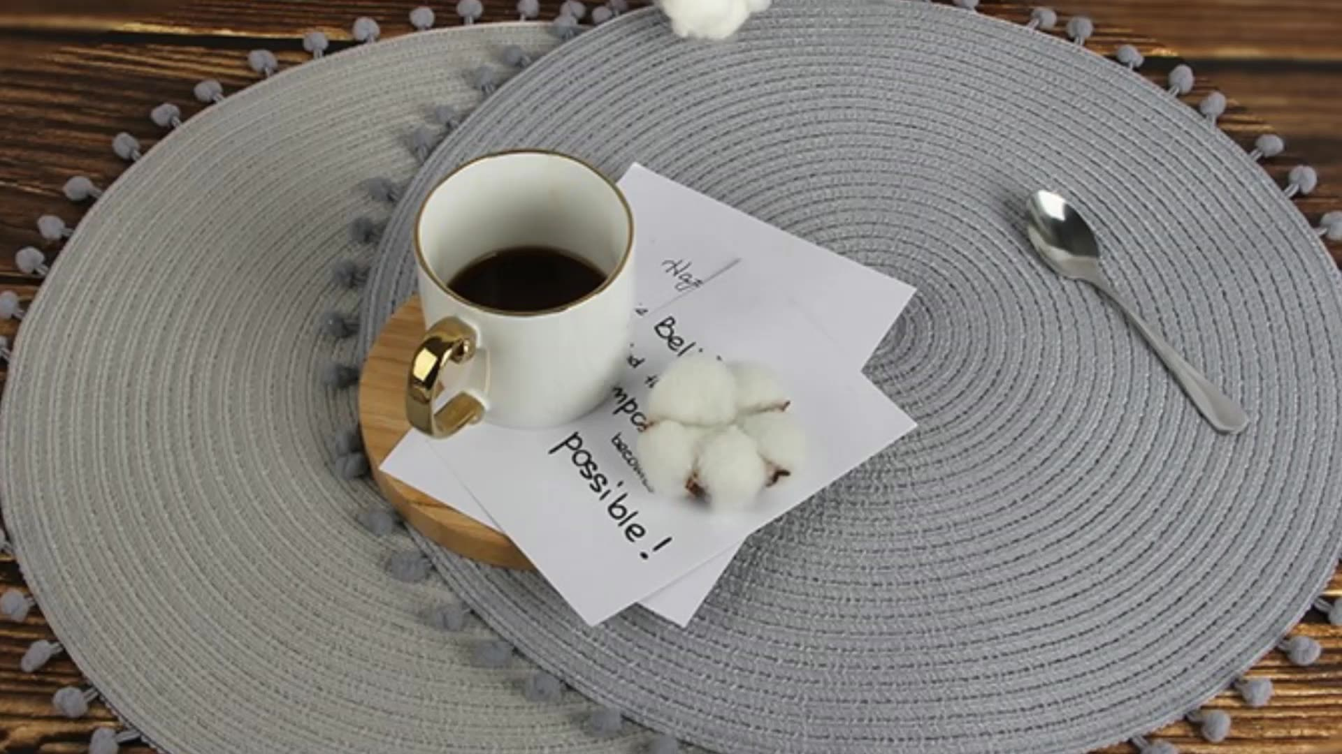 fashion design pink round placemats polyester table mats